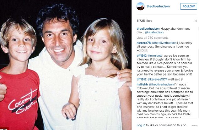 The offending tweet: Oliver Hudson posted this picture of his father Bill, and sister Kate on Father's Day