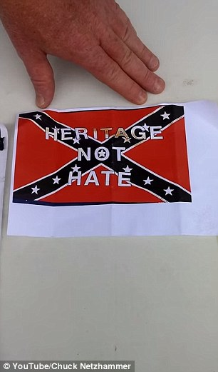 In a YouTube video, Netzhammer explains how his local Walmart store in Slidell, Louisiana, refused to ice this photo of the Confederate flag on a cake - but agreed to make him an Islamic State creation.