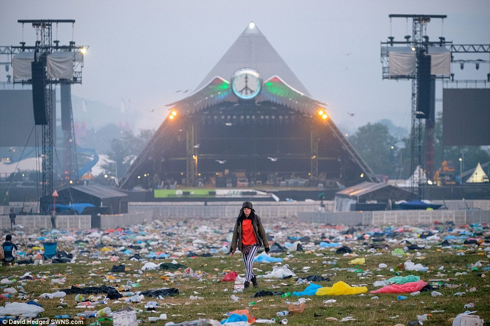 big camping chair hanging patio the clean up of glastonbury festival 2015 at worthy farm begins | daily mail online