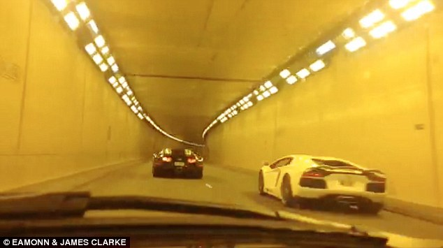 Challenge: With a roar of the engine, the Lamborghini, which costs £260,000 comes up from behind