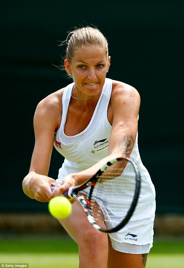 Karolina Pliskova is another tattooed player who took to the grass courts today. Her tribal body art could be seen on her arm and thigh