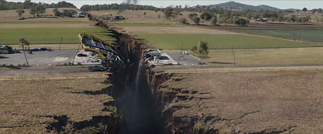 A scene from the movie San Andreas in which the fault triggers a devastating earthquake in LA, the largest in recorded history