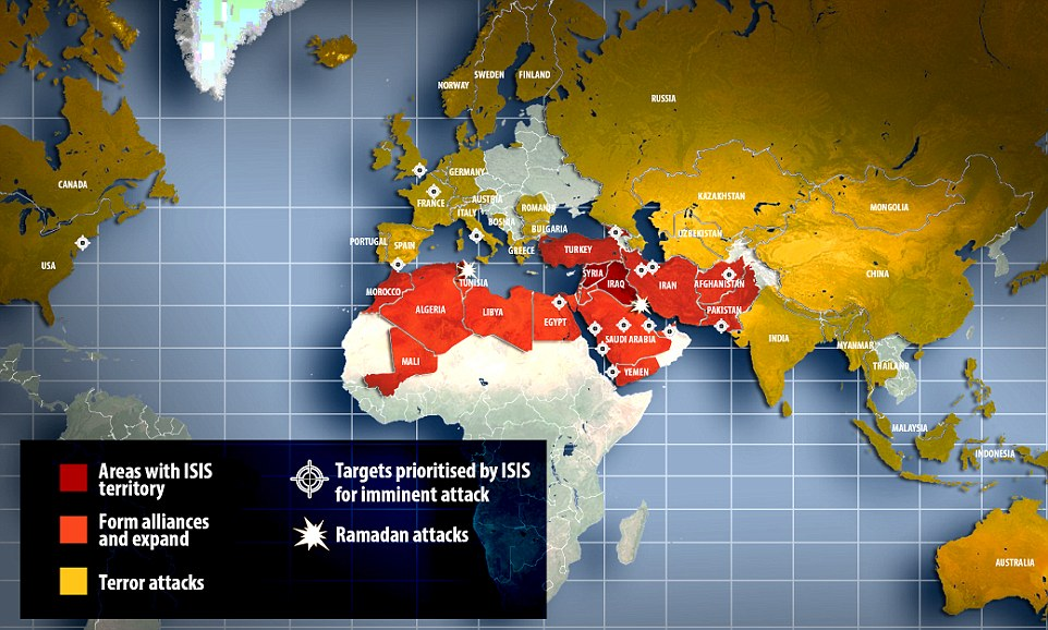 Terror: Respected counter-terrorism experts have predicted ISIS will carry out bloody terror attacks on Western nations and awaken 'sleeper cells' in south-east Asia by the end of the holy month of Ramadan on August 18