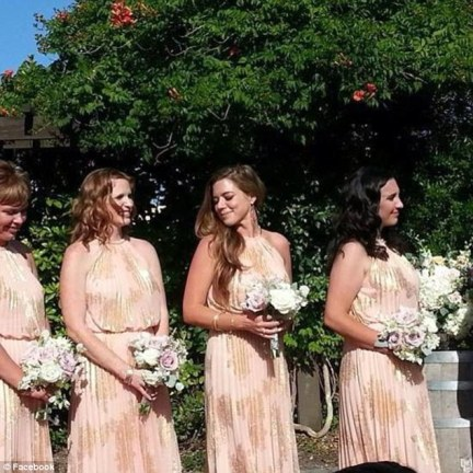 Beautiful bridesmaid: Here Kate is pictured celebrating as a bridesmaid at a friends wedding.