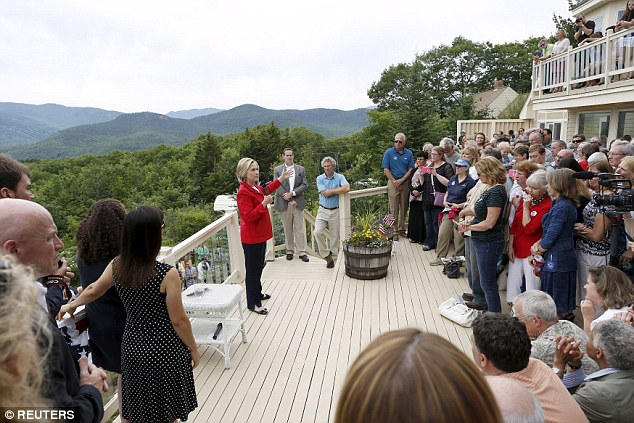 She addresses a crowd who gathered at the home to hear the ex-First Lady speak