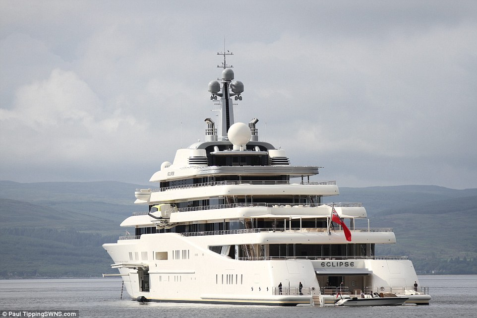 Impressive: The yacht was made for Mr Abramovich in 2010 and at the time was the largest private vessel ever made at 557ft