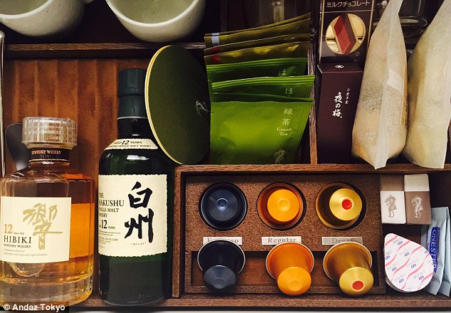At the Andaz Tokyo, all guests can imbibe in the local whisky with the hotel's Japanese styled mini-bar. There are two fine spirits on offer, as well as okaki (Japanese rice crackers) and yokan (jellied bean paste)