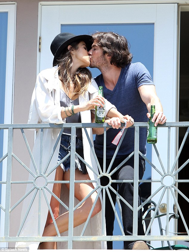 Nikki Reed and Ian Somerhalder share kiss as they party postIndependence Day  Daily Mail Online