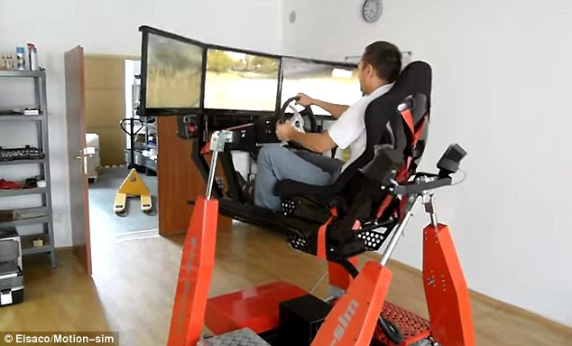 hydraulic racing simulator chair wicker chairs and table set elsaco s lets you drive virtual car with vibrations the pictured uses data about position of speed
