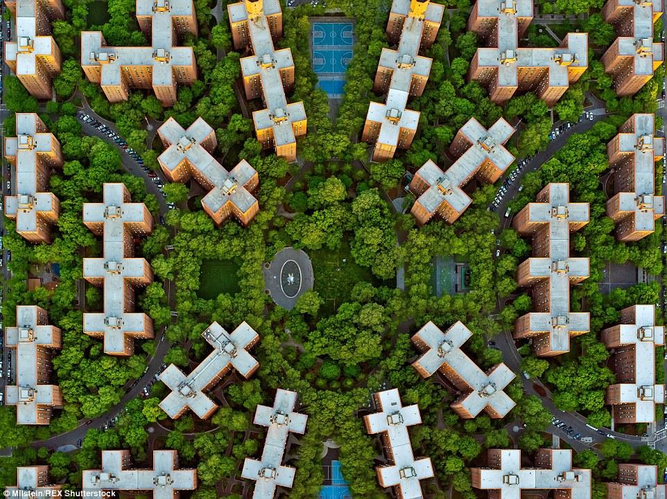 Cidade Stuyvesant: Embora este conjunto exclusivo de apartamentos em Manhattan parece atraente a partir do solo, do ar os blocos de formas estranhamente formar um teste padrão geométrico intrincado não visível ao nível da rua