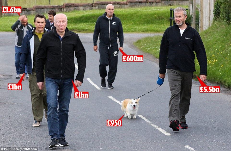The billionaire Chelsea owner was spotted walking his dog yesterday with a middle aged entourage in tow, dressed in comfortable slacks, jogging bottoms and fleeces. Despite appearances, the casually dressed group include senior figures from Abramovich's firms, the son of a Russian governor, one of Ukraine's richest men, and his £950 corgi