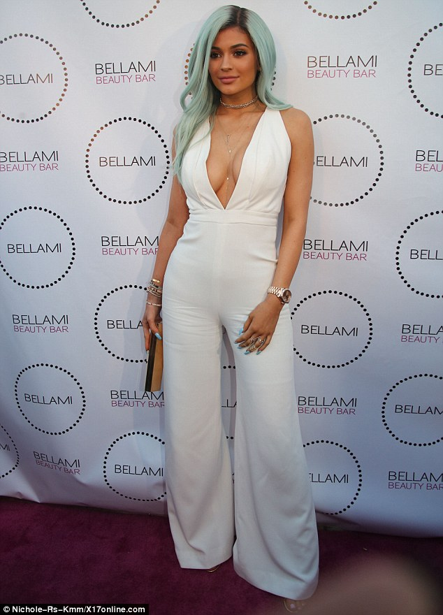 Like a mermaid: Kylie Jenner showed off new blue hair at Bellami Beauty Bar in West Hollywood on Thursday