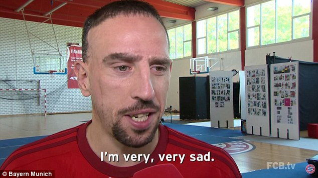 Franck Ribery was honest about his sadness after Schweinsteiger's departure was announced