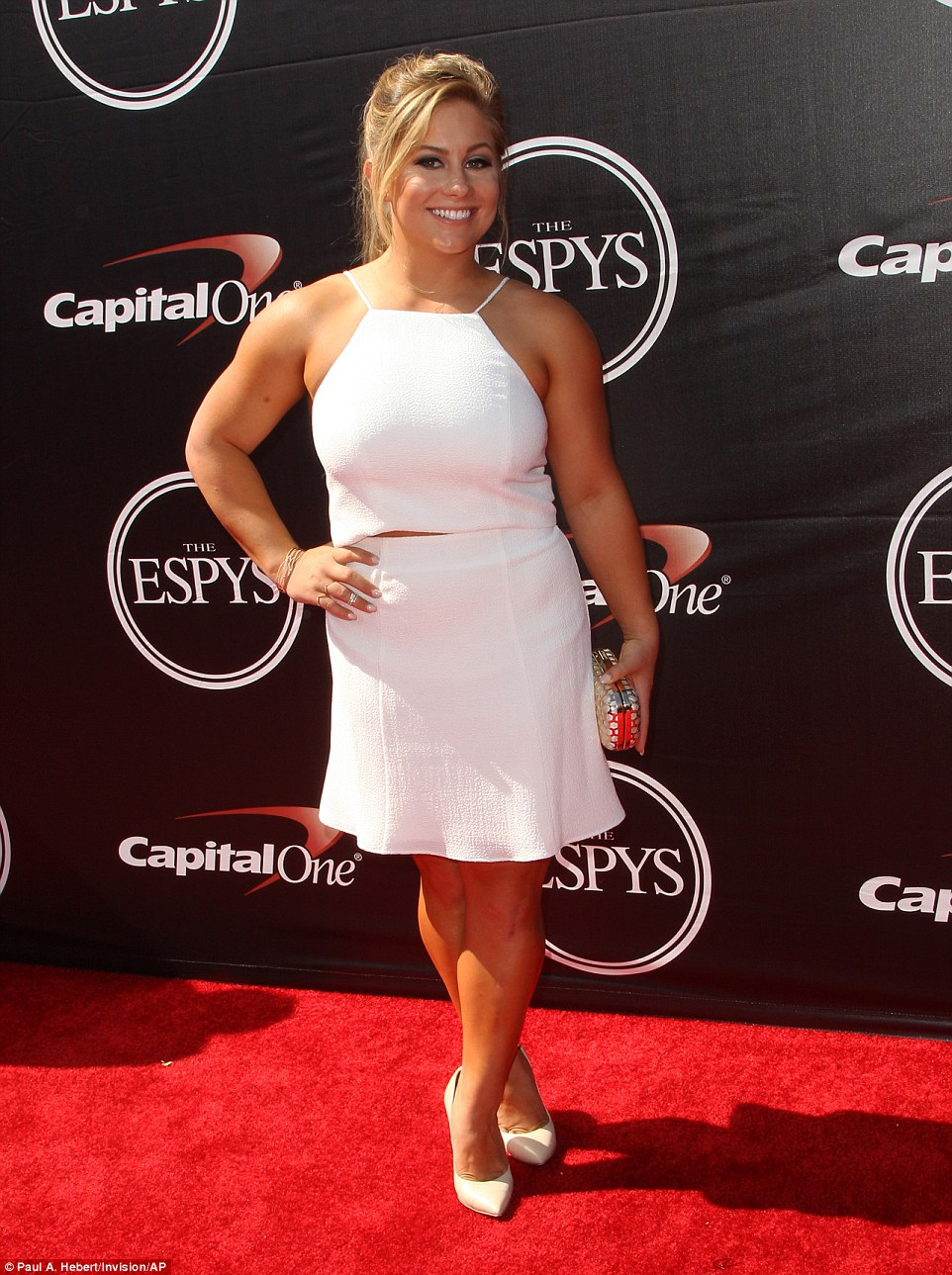 B-score on the red carpet: Artistic gymnast Shawn Johnson wore a white top and skirt ensemble