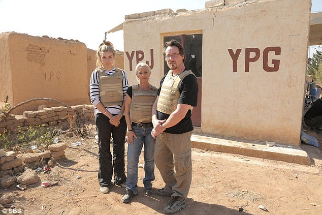 Nicole (left), a detention centre whistle blower, Kim (centre), a Stop the Boats Facebook campaigner, and Andrew (right), a tough talking school teacher, as well as SBS film crew experienced first-hand of trying try escape from gunfire exchange between soldiers fighting against IS militants