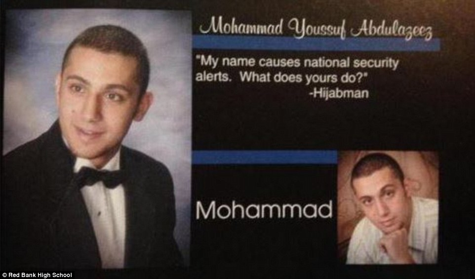 Yearbook photo: Muhammad Youssef Abdulazeez wrote between two pictures of himself: 'My name causes national security alerts. What does yours do?' Some of his former classmates believe this was a joke
