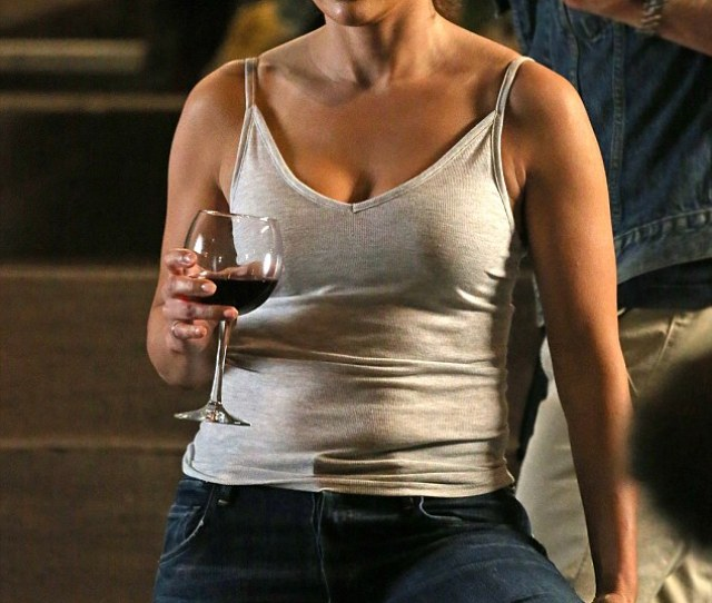 Happy Hour On Saturday Jennifer Lopez Enjoyed A Glass Of Wine While Filming A