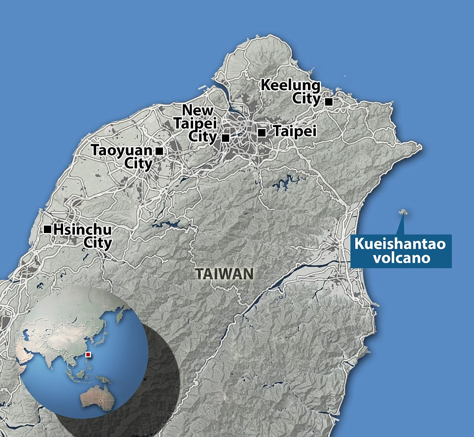 Kueishantao Island, reaches 1315ft (401m) above sea level at its peak, and is the southernmost of five small volcanic islands off NE Taiwan