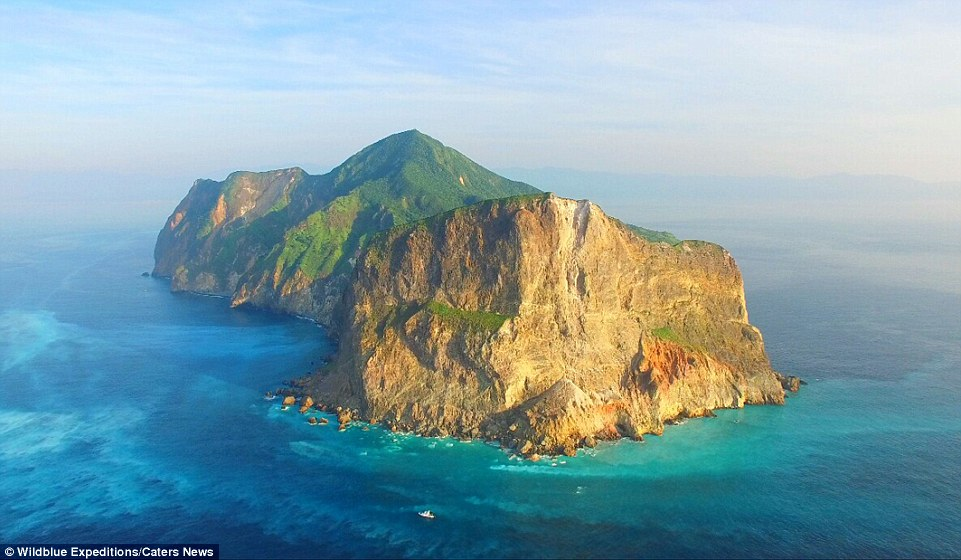 Kueishantao Island (pictured), reaches 1315ft (401m) above sea level at its peak, and is the southernmost of five small volcanic islands off the north-east coast of Taiwan. The island is also known as 'Turtle Mountain Island' due to its profile as seen from the mainland