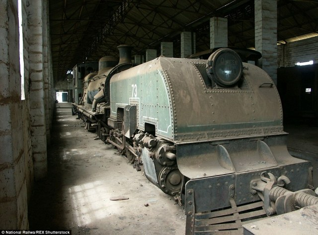 Thought to have been lost: A British Garratt locomotive found in Freetown is pictured in 2004 prior to the restoration work beginning