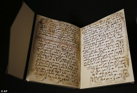 Two pages of what may be the world's oldest Koran (pictured) were found hidden inside another copy of the Islamic holy book at the University of Birmingham. They have been dated to between  568AD and 645AD. It may have been written shortly after the death of the Prophet Muhammad by someone who knew him