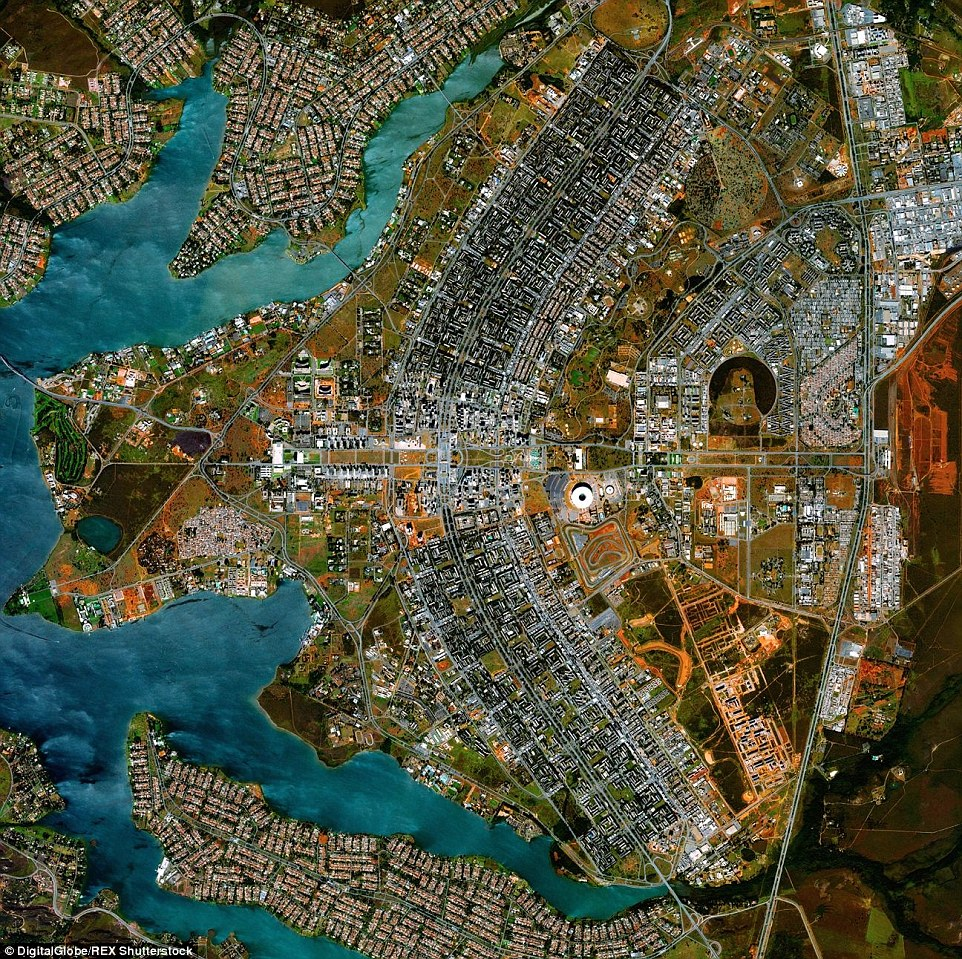 Brasilia, the capital of Brazil, resembles the design of an aeroplane when photographed from above
