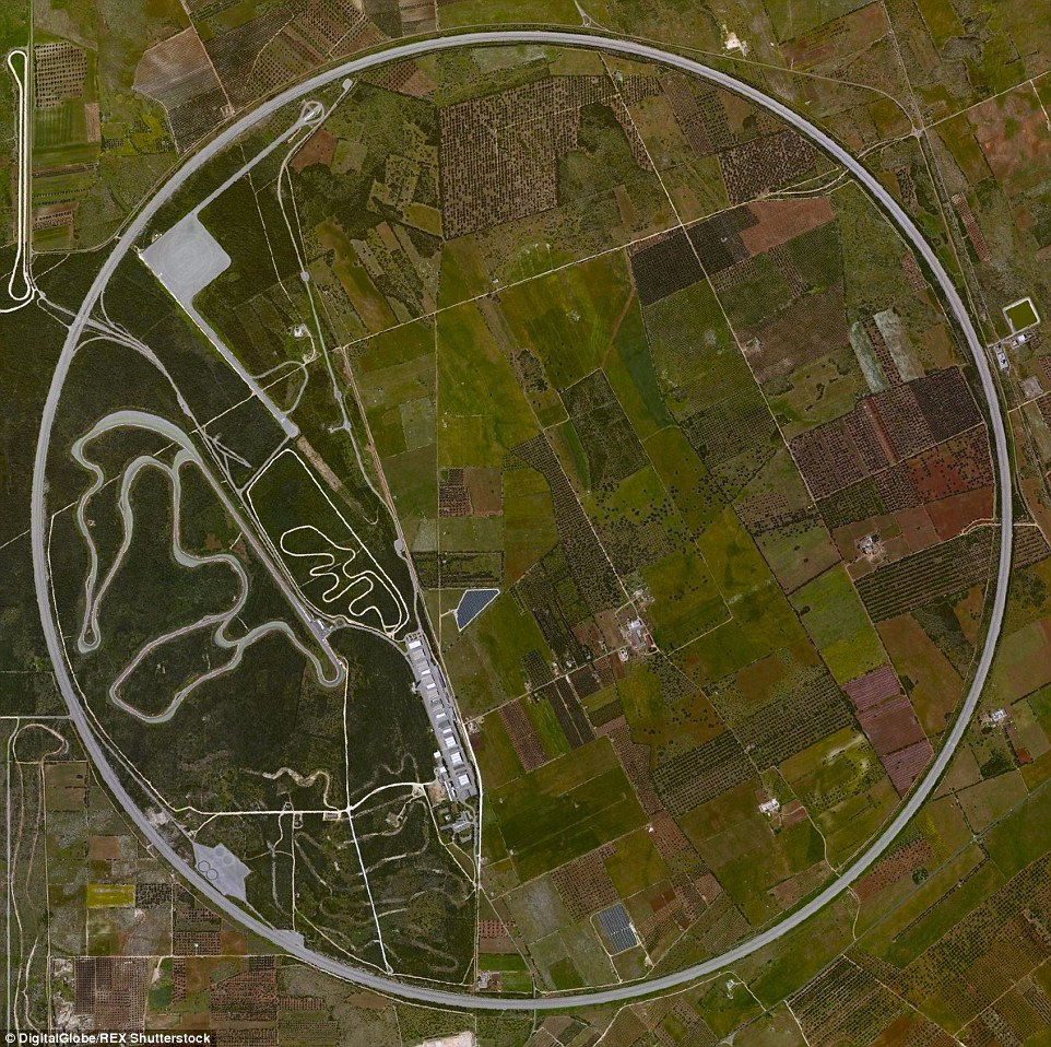 The Nardo Ring is a high-speed circular test track in Italy and photographs like a contained circle from the sky