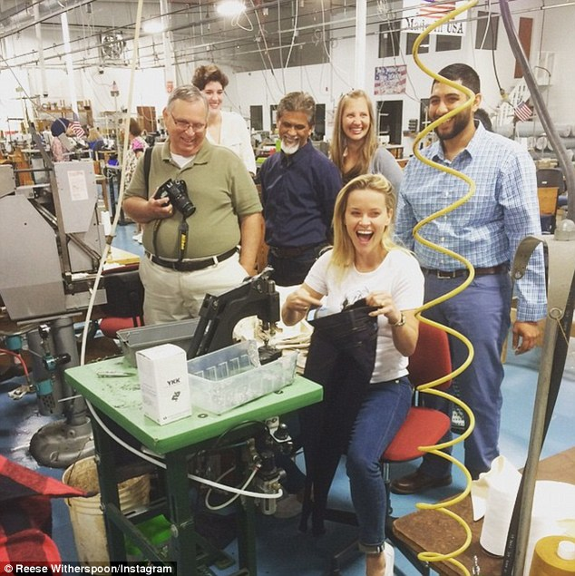 Elated: Reese took to Instagram to celebrate her accomplishment, writing, of the experience: 'Pure joy! That's the feeling I had making a pair of #DraperJames jeans in our denim factory in Georgia today! #MadeInUSA'