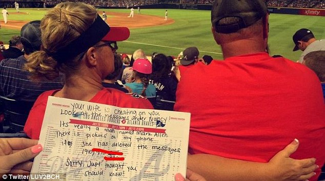 Delana and Brynn Hinson said they were at the Atlanta Braves game on Wednesday  when they took pictures of the woman's allegedly adulterous text messages - they then wrote the man a note