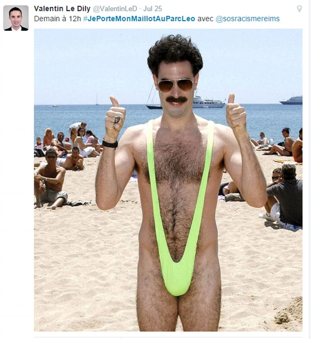 Graphic: Valentin Le Dily posted this picture of Borat in a mankini as he went online with the hashtag JePorteMonMaillotAuParcLeo