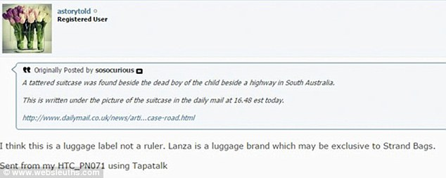 Spotted: websleuth poster astorytold (above) promptly identified the 'child's ruler' as a luggage label for the Lanza brand, which was sold by the shop Strandbags but seems to be no longer widely available