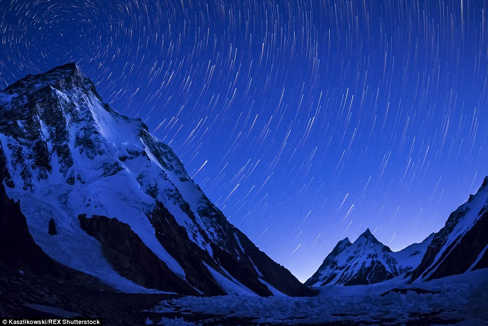 Stunning: The stars appear to be moving across the nights sky in this image taken near K2, the world's second highest mountain