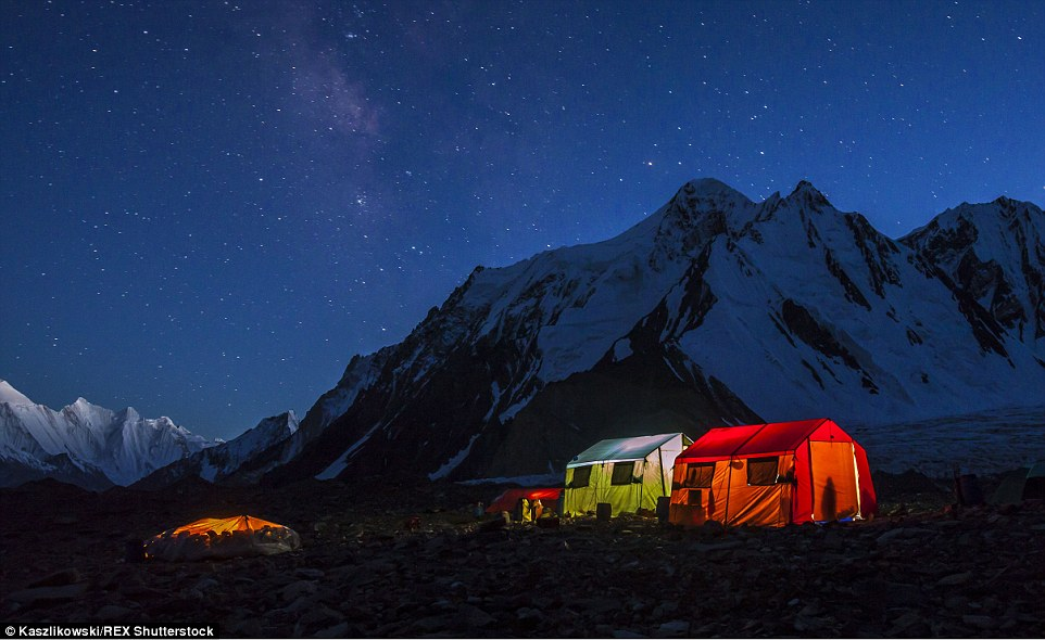 Room with a view: During the three-week trek Mr Kaszlikowski and his team made their home at an altitude of 5,000 metres