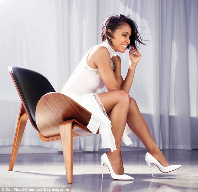 Leggy lady: Jada Pinkett Smith showed off her long legs in a new shoot for American Way, the magazine for American Airlines