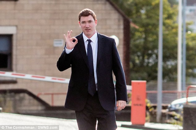 James Casbolt walks to Truro Crown Court where he admitted sending threatening texts and emails containing pictures of his ex as well as posting images and bizarre claims about her online
