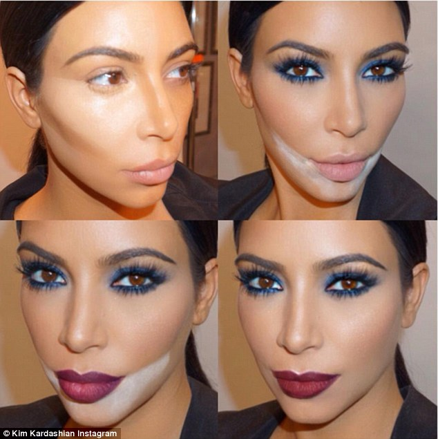 Tricks of the trade: Kim Kardashian shared this collage of her make-up on Instagram on Saturday