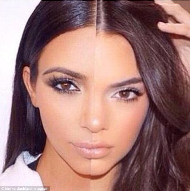 Similar but different: Kim noted her differences and similarities with her half-sister Kendall, 19, as well, writing, 'Kim x Kendall'