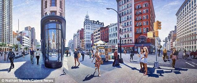 A sensação de realismo é parcialmente criado por incrível uso de Nathan de geometria, que envolve o artista, por vezes, desenhando e fotografando mais de 100 imagens de um local antes de cometer para a tela.  Na foto é Flatiron Building, em Nova York