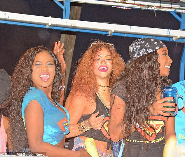 Party girls: She was happy to hang out with a few gal pals at the event