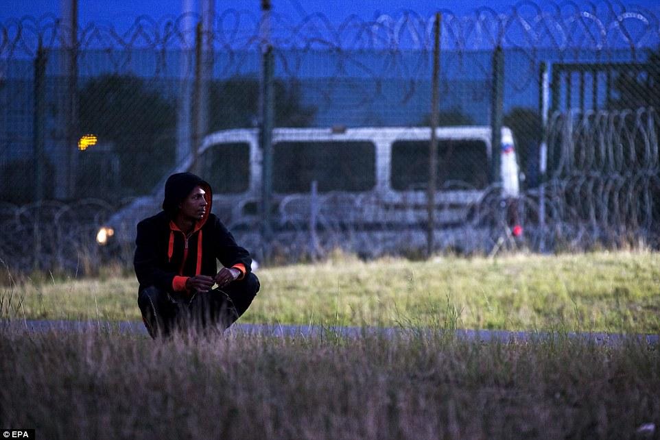 Esperando: A esperas migrantes una oportunidad para cruzar la valla bloqueando el acceso al túnel de la Mancha un seguimiento de anoche.  Guardias de seguridad adicionales se han destinado en Calais para tratar de hacer frente a la crisis migratoria