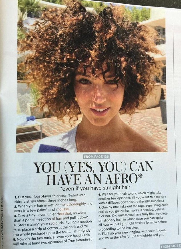 Two for the price of one: The offending image of Marissa also featured in the back pages of the magazine, where readers were given a step-by-step guide on how to create the perfect afro, even with straight hair