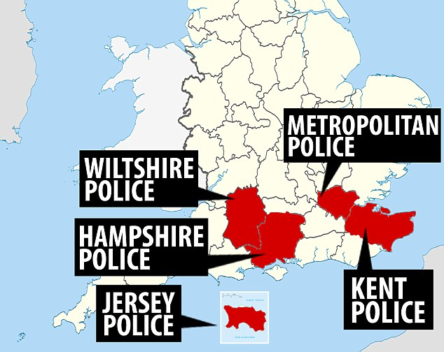 The police forces investigating the allegations include Wiltshire, Hampshire, Kent, Jersey and the Met Police
