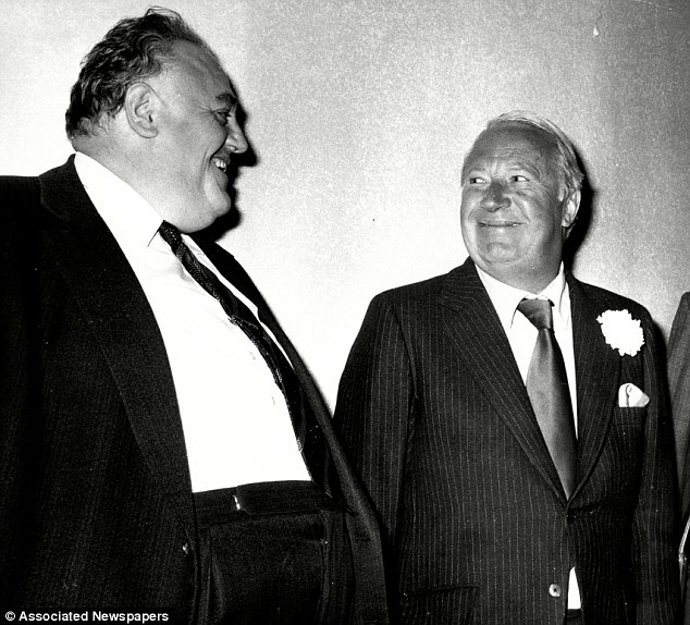 Sir Edward Heath is pictured with paedophile Cyril Smith, a former MP for Rochdale, in Leeds in 1975