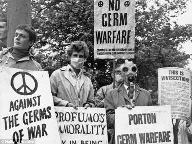 Controversial: Protesters outside Porton Down, in Wiltshire, where the Ministry of Defence carried out chemical and biological experiments on 21,000 servicemen between 1939 and 1989
