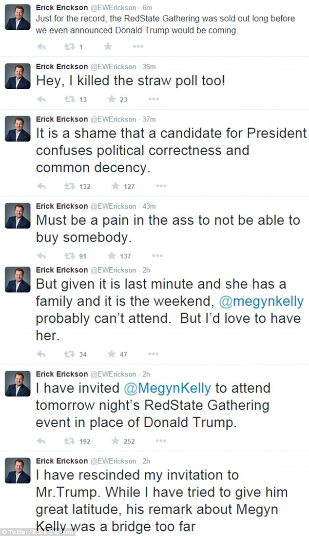 Erick Erickson's Twitter response after he disinvited Trump and invited Megyn instead to the RedState event