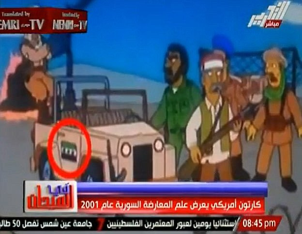 False flag? Conspiracy theorists flipped out over a 2001 episode of the Simpsons featuring the flag of a Syrian opposition group which did not exist until after the Arab Spring