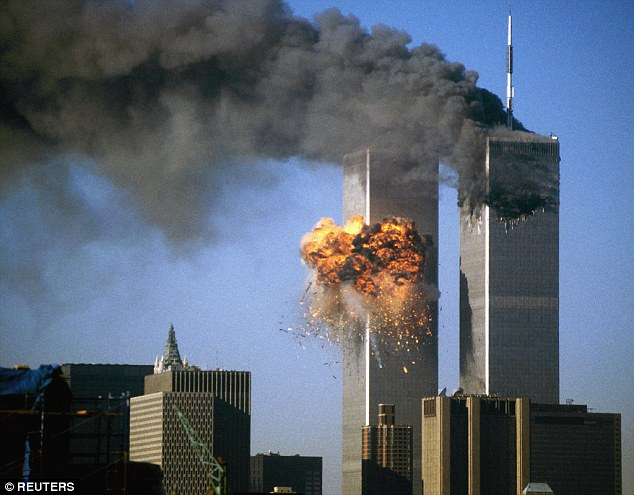 The World Trade Center south tower burst into flames after being struck by hijacked United Airlines Flight 175 on September 11, 2001. Allegations linking the Saudi government with the attacks could soon be revealed