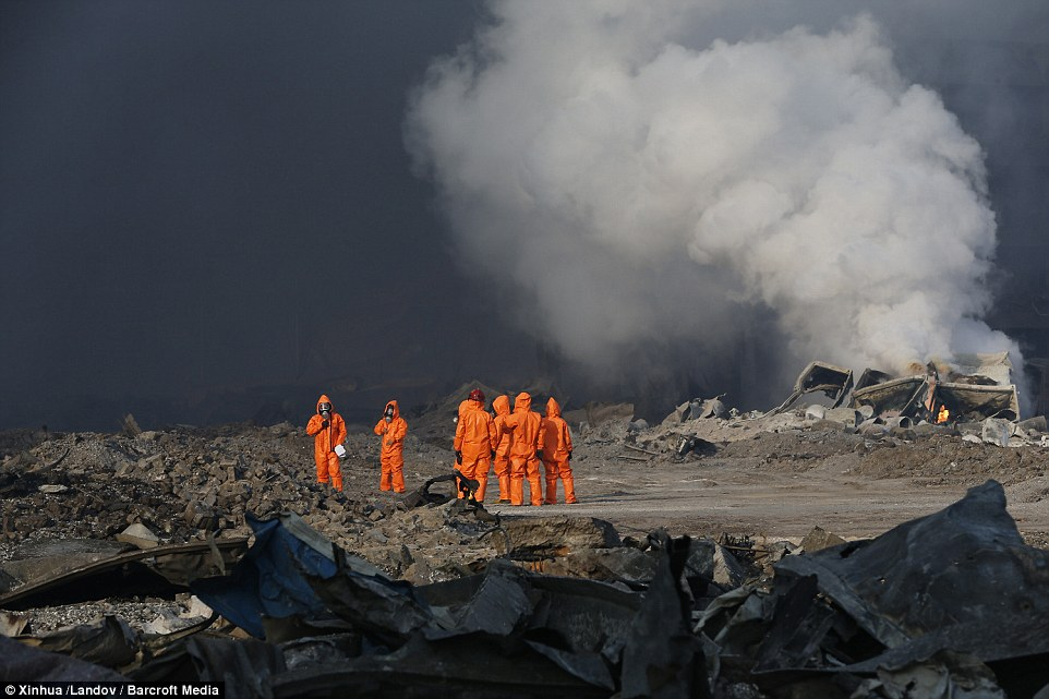 Response: Firefighters work at the explosion site in Tianjin as the death toll and injury count from the incident continued to rise