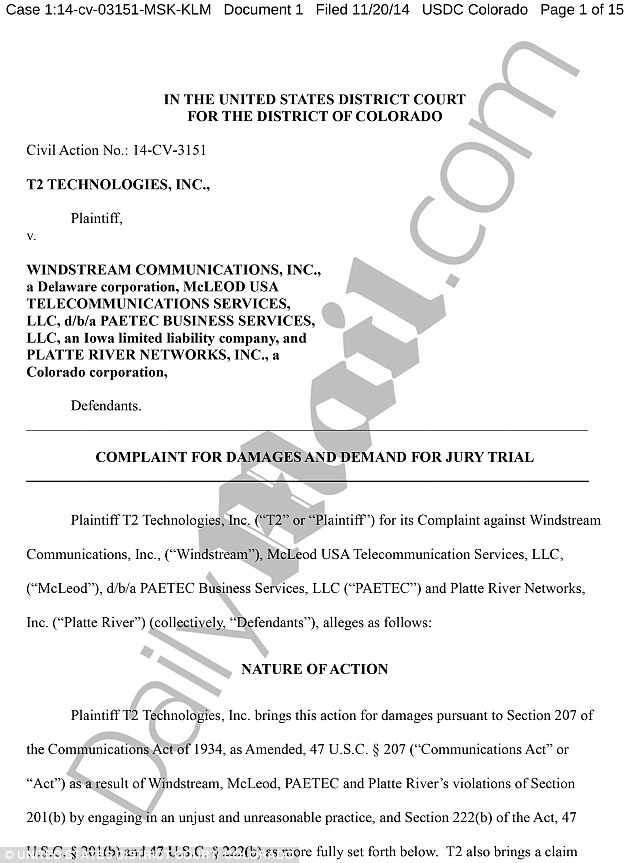 DOCUMENTED: The claim made against Platte River Networks and its co-contractors