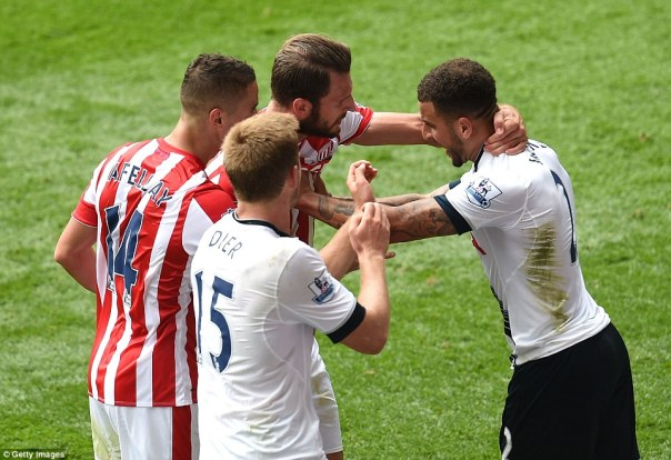 Tempers flared at the end of the game as Kyle Walker and Erik Pieters had to be pulled apart as the game reached the final moments